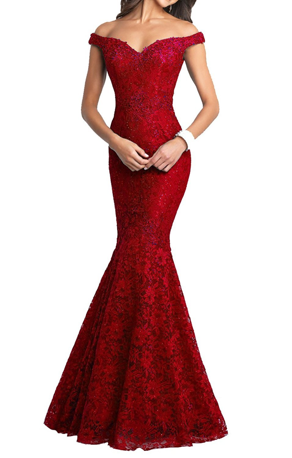 Lily Wedding Women Lace Beaded Mermaid Prom Evening Dress 2018 Long V-Neck Wedding Formal Gowns GD31 Size 14 Red