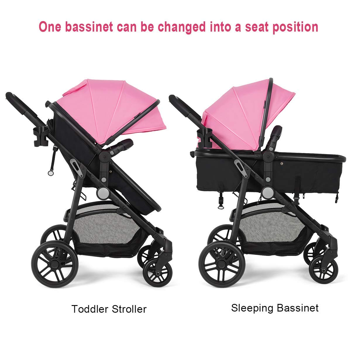 Costzon Baby Stroller, 2 in 1 Convertible Carriage Bassinet to Stroller, Pushchair with Foot Cover, Cup Holder, Large Storage Space, Wheels Suspension, 5-Point Harness (Pink Color) by Costzon (Image #6)