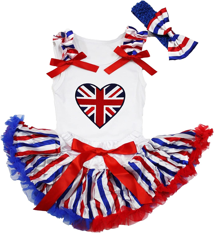 Petitebella British Heart White Shirt RWB Striped Skirt Outfit 3-12m