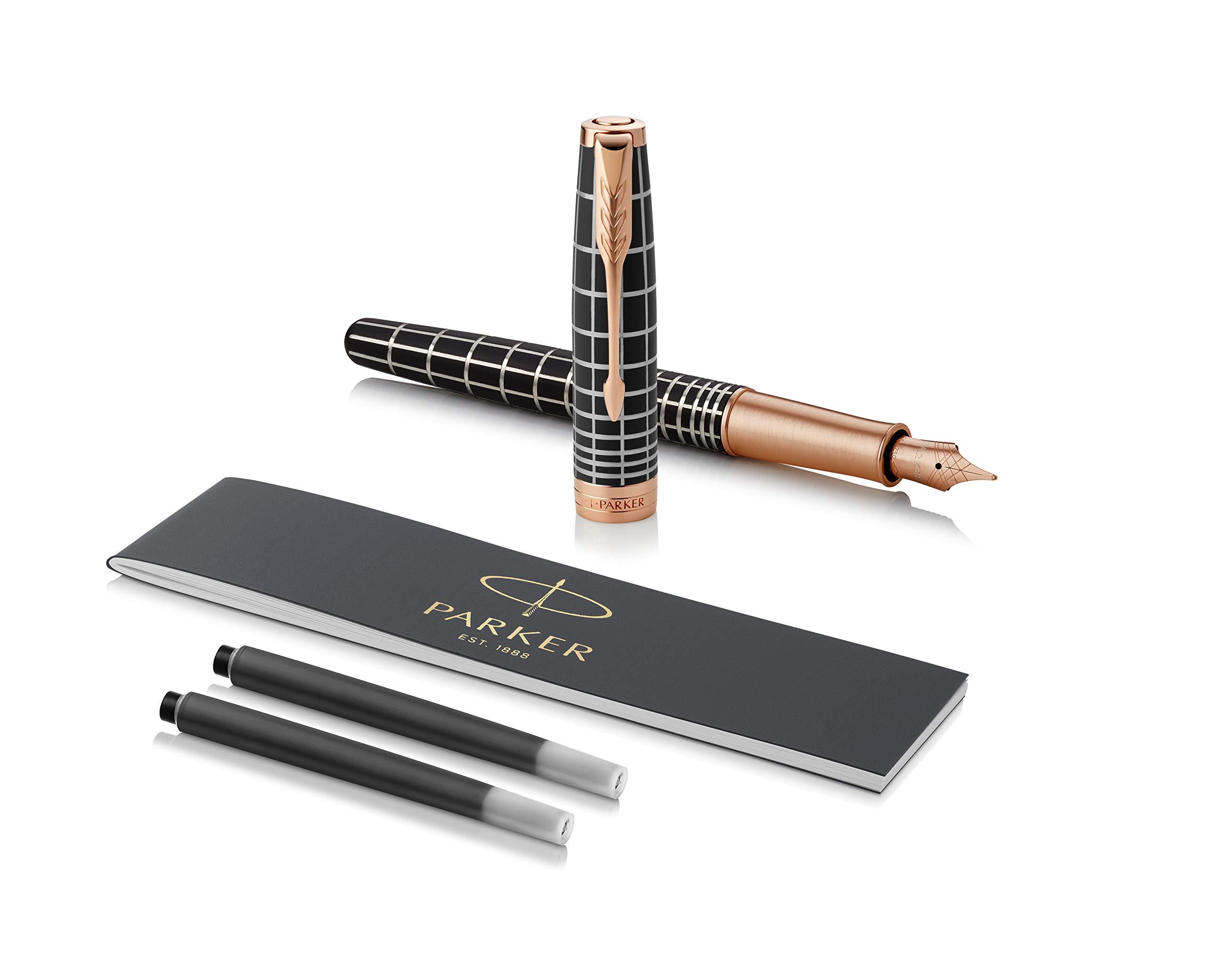 PARKER Sonnet Fountain Pen, Prestige Brown Rubber with Rose Gold Trim, Solid 18k Gold Fine Nib