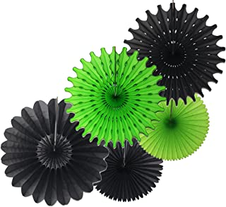 product image for Devra Party 5-Piece Tissue Paper Fans, Gamer Black Lime