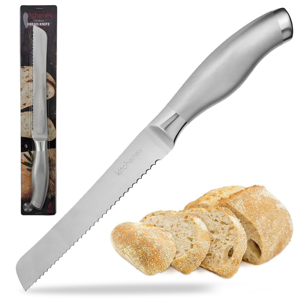 """Kitchenex Stainless Steel Bread Knife With 8"""" Ultra Sharp Serrated Blades – Multipurpose Kitchen Knife With Comfortable Ergonomic Handle – Rustproof Bread Slicer For Thick Loaves,Cake,Bagel,Pastries"""