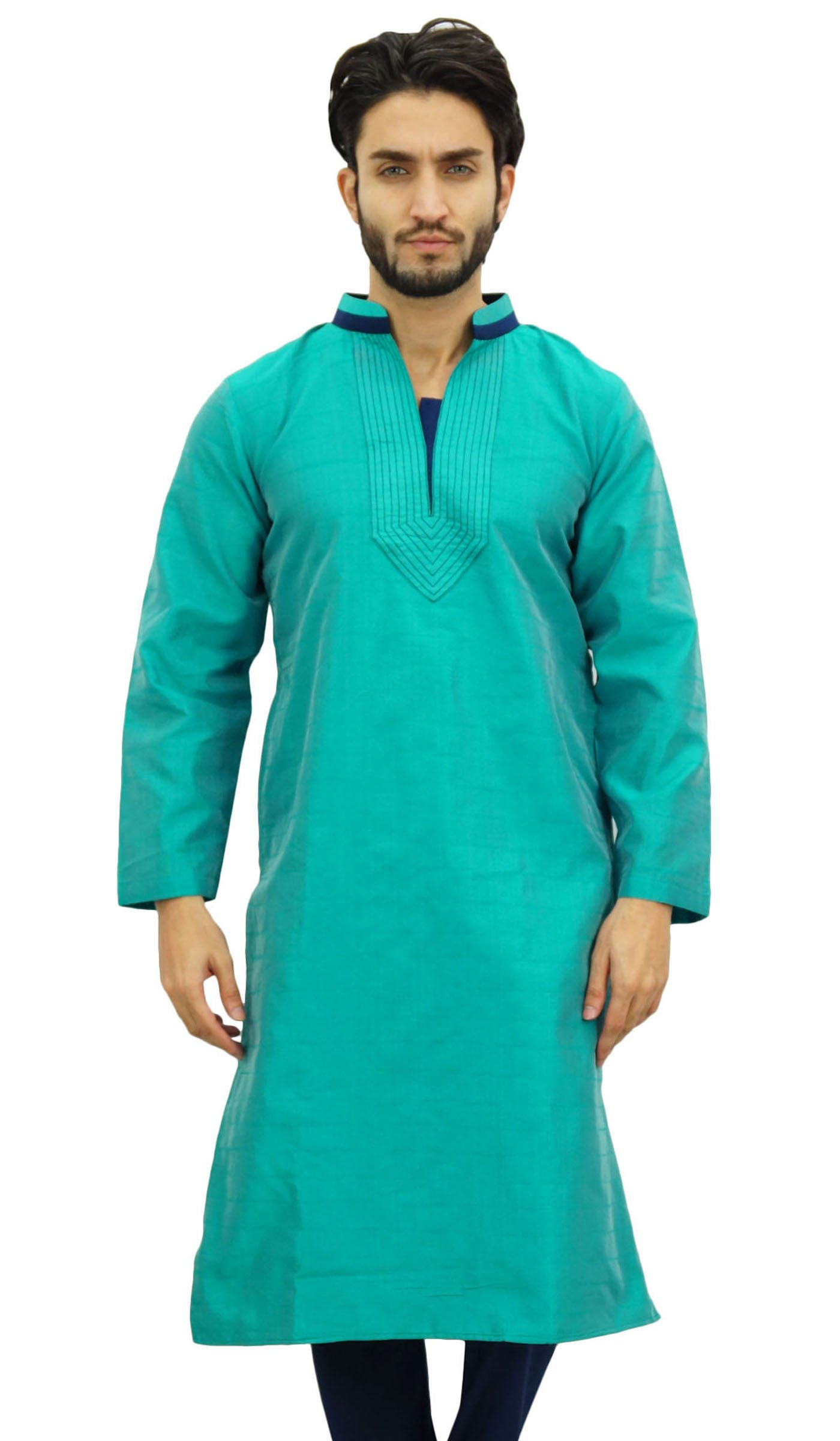 Atasi Men's Long Green Kurta Dupion Indian Shirt Ethnic Tunic-XXX-Large