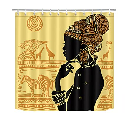 LB Tribal Design African Woman Shower Curtain Black Girl With Handwear And Zebra Print