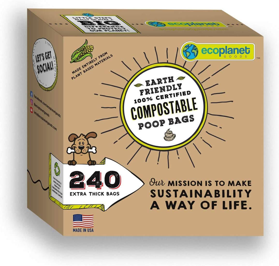 Compostable Poop Bags Full Decomposition Within Only 90 Days Fur a Petter World 100/% Eco-Friendly Biodegradable Made of Cornstarch Thick /& Easy to Open Leak Proof