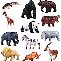 Toyvian 12 peças de mini animais de fazenda realistas, brinquedos de plástico, figuras de animais, topos de bolo