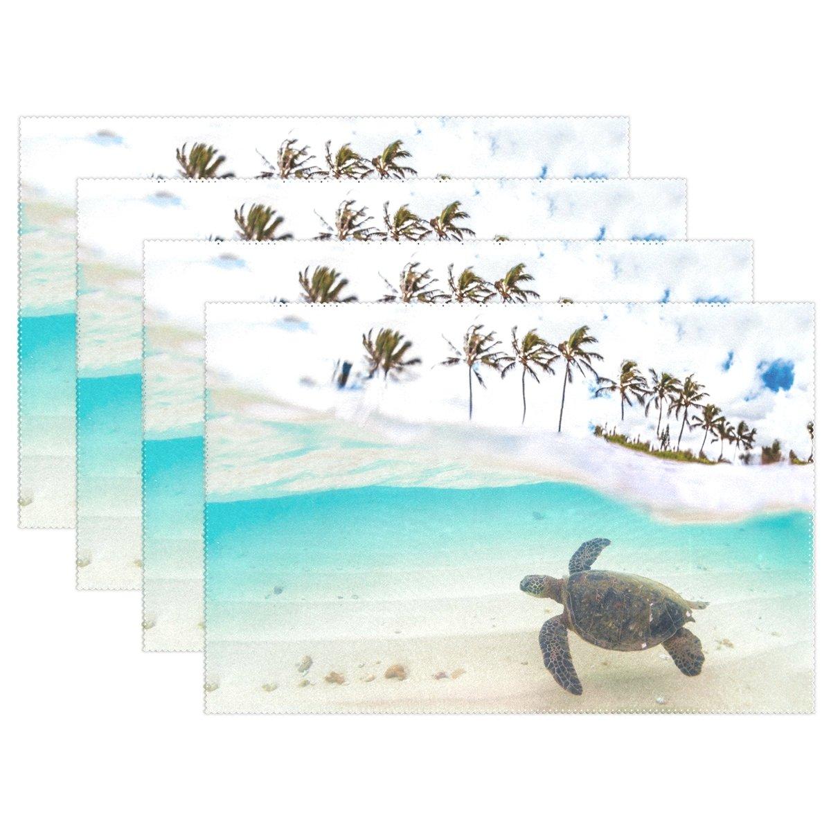 WozoハワイアンGreen Sea Turtleプレースマットテーブルマット、Tropical Palm Tree 12