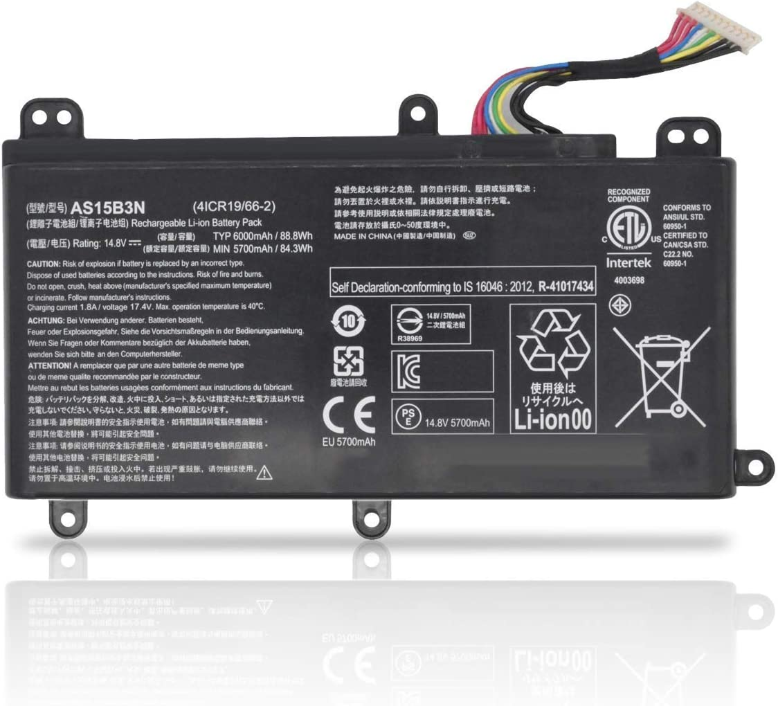 FLIW AS15B3N Replacement Battery Compatible with Acer Predator 15 G9-591 G9-591G G9-592 G9-592G 17 G9-791 G9-791G G9-792 G9-792G 17X GX-791 Series KT.00803.004 4ICR19/66-2 [14.8V 88.8Wh 6000m]