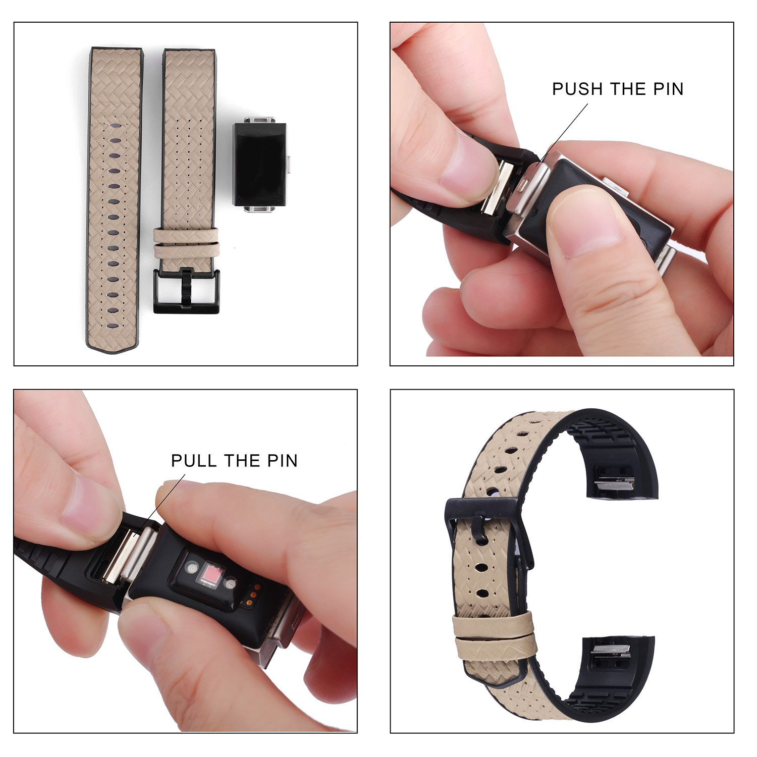 Fitbit Charge 2 Bands for Men&Women, greatgo Replacement Leather TPU Wristbands Accessories Adjustable Large Small Breathable Bracelet Strap with Metal Buckle Clasp for Fitbit Charge 2 Watch (Grey)
