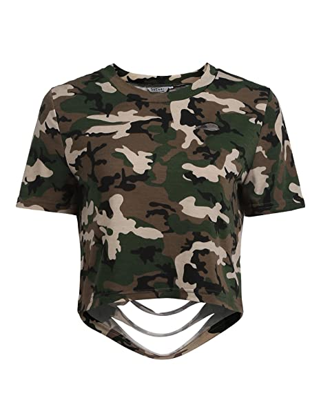 f76e40320000 SoTeer Women's Camo Print Crop Top Casual Distressed Short Sleeve T-Shirt,  PAT2,