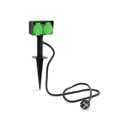 Relaxdays 10020125 Prise de courant pour jardin avec 2 prises pour  extérieur piquet 35 x 11 x 6,5 cm longueur du câble 130cm normes IP44 borne  ...