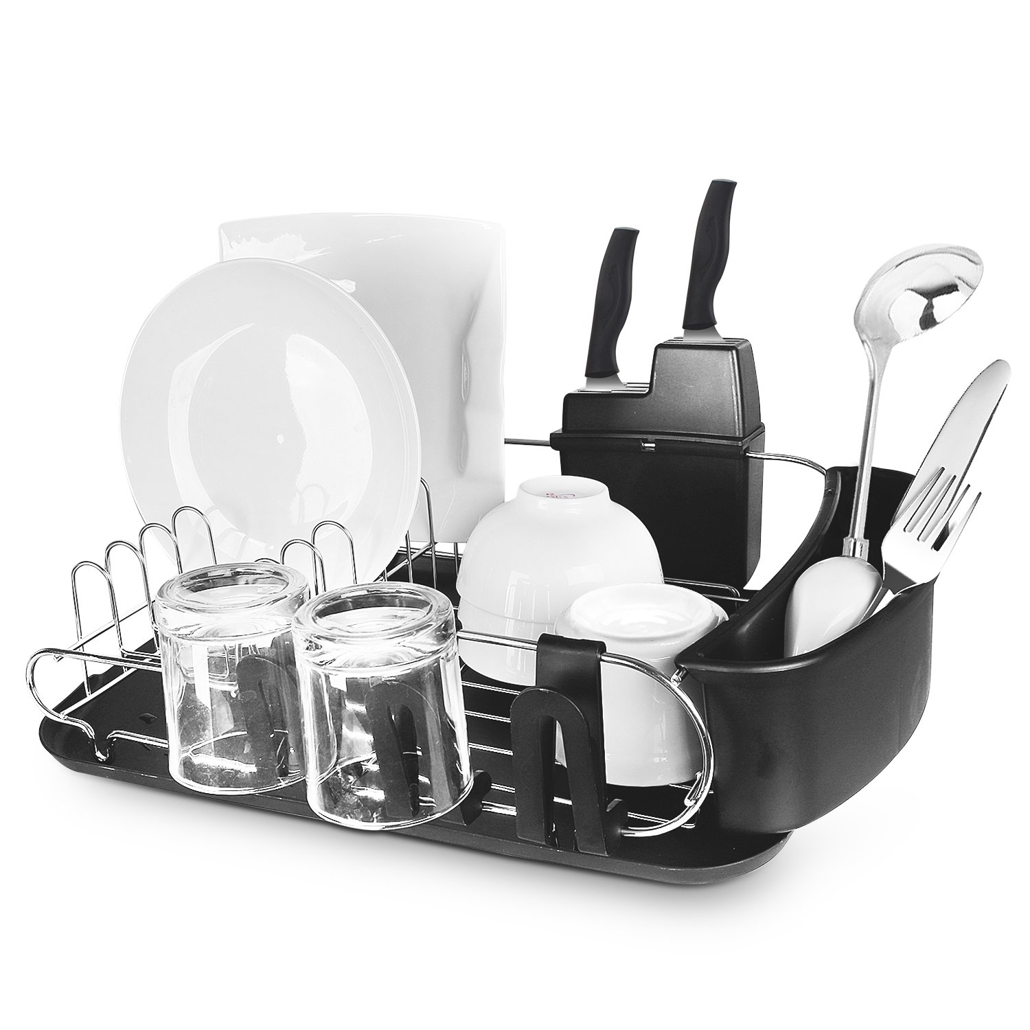 Dish Drying Rack – Multifunctional U-Shaped Stainless Steel Dish Rack With Nontoxic Plastic Drain Board, Removable Utensil, Cutlery & 3 Cup Holders – Hygienic High Capacity Design & Rustproof Metal