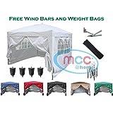 Mcc@home Premier 3x3m Waterproof Pop-up Gazebo Marquee Canopy [Blue*Black*Green*White*Red*Beige] (WS) (White)
