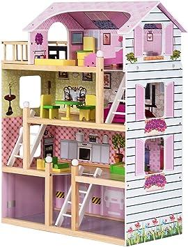 Costway Maison De Poupee En Bois Jeu D Imitation De Meuble Pour Enfants 3 Etages Et 5 Pieces Avec Accessoires 61 X 26 5 X 71 Cm Rose