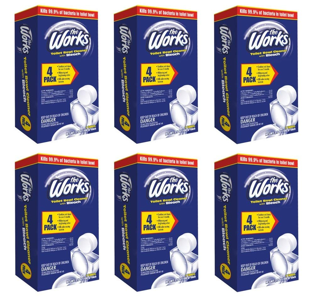 The Works Toilet Bowl Cleaner With Bleach 4 Pack of Tablets (Pack of 6) by by The Works