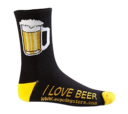Amazoncom Ecycle Mens Beer Mug Cycling Socks Large Blackyellow