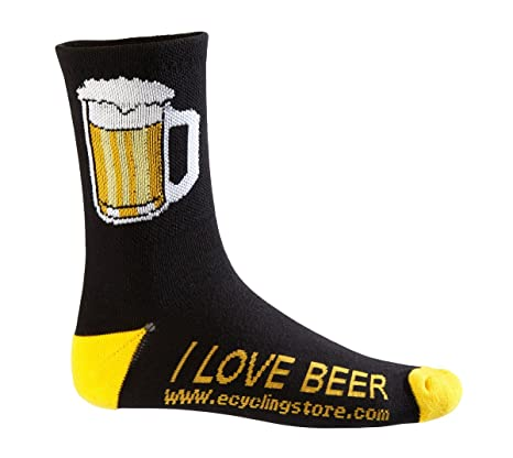 eCycle Mens Beer Mug Cycling Socks Large Black/Yellow