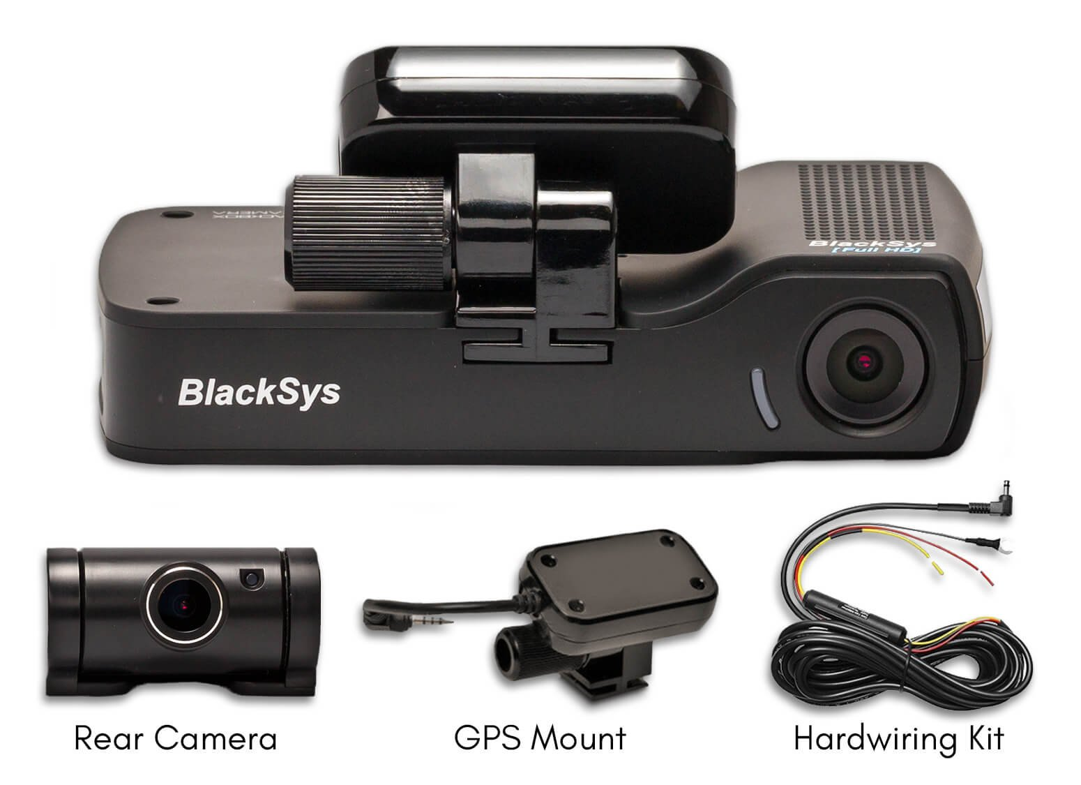 BlackSys CH-100B 2 Channel 1080P FULL HD Front and Rear Pro Wide Angle Dashboard Recorder | Dash Cam With G-Sensor + Up to 128gb Memory | Car Parking Mode | Wifi App by Blacksys