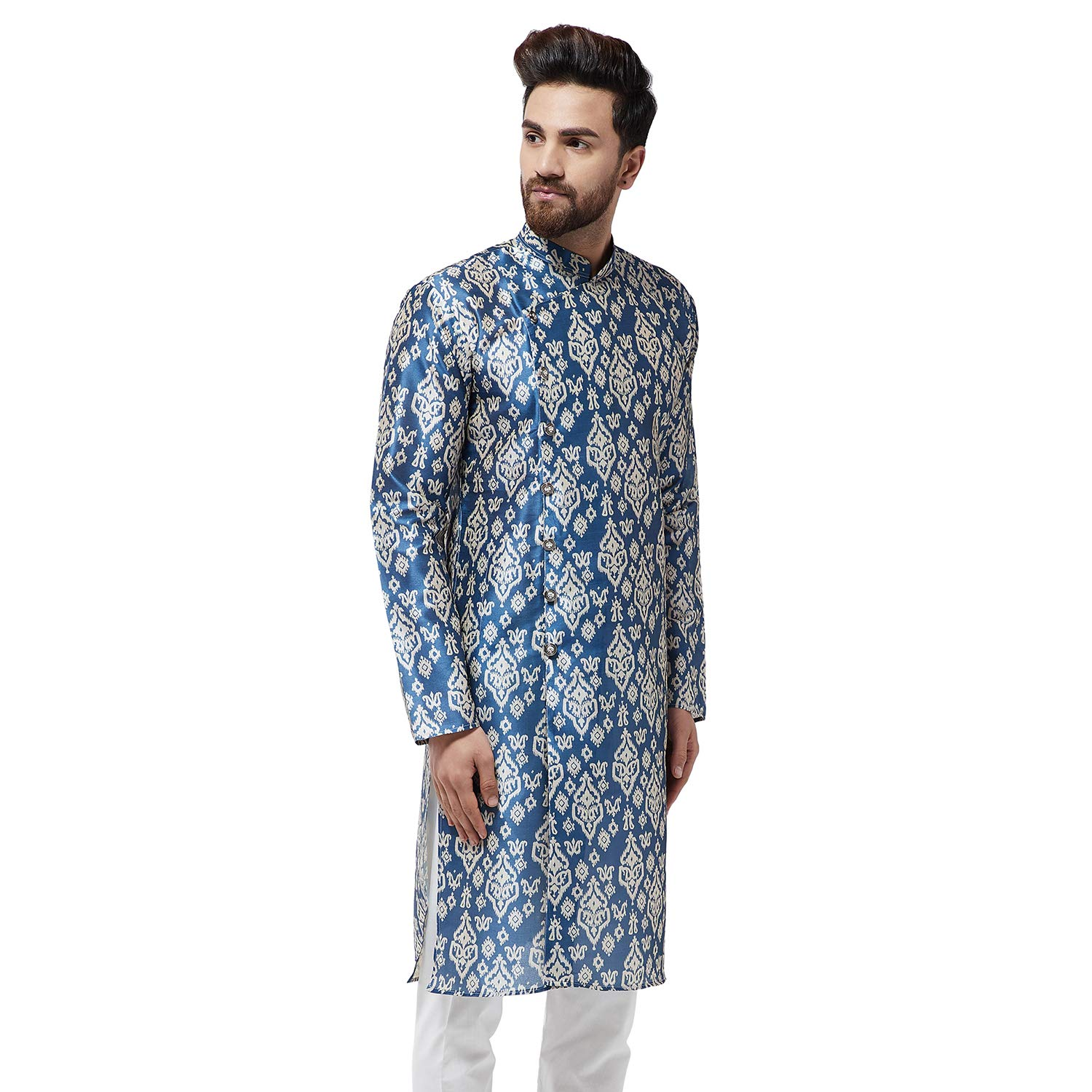 Festival-Men-Dupion-Silk-Kurta-Pajama-Ethnic-Party-Wear-Bollywood-Dress-Pyjama thumbnail 10