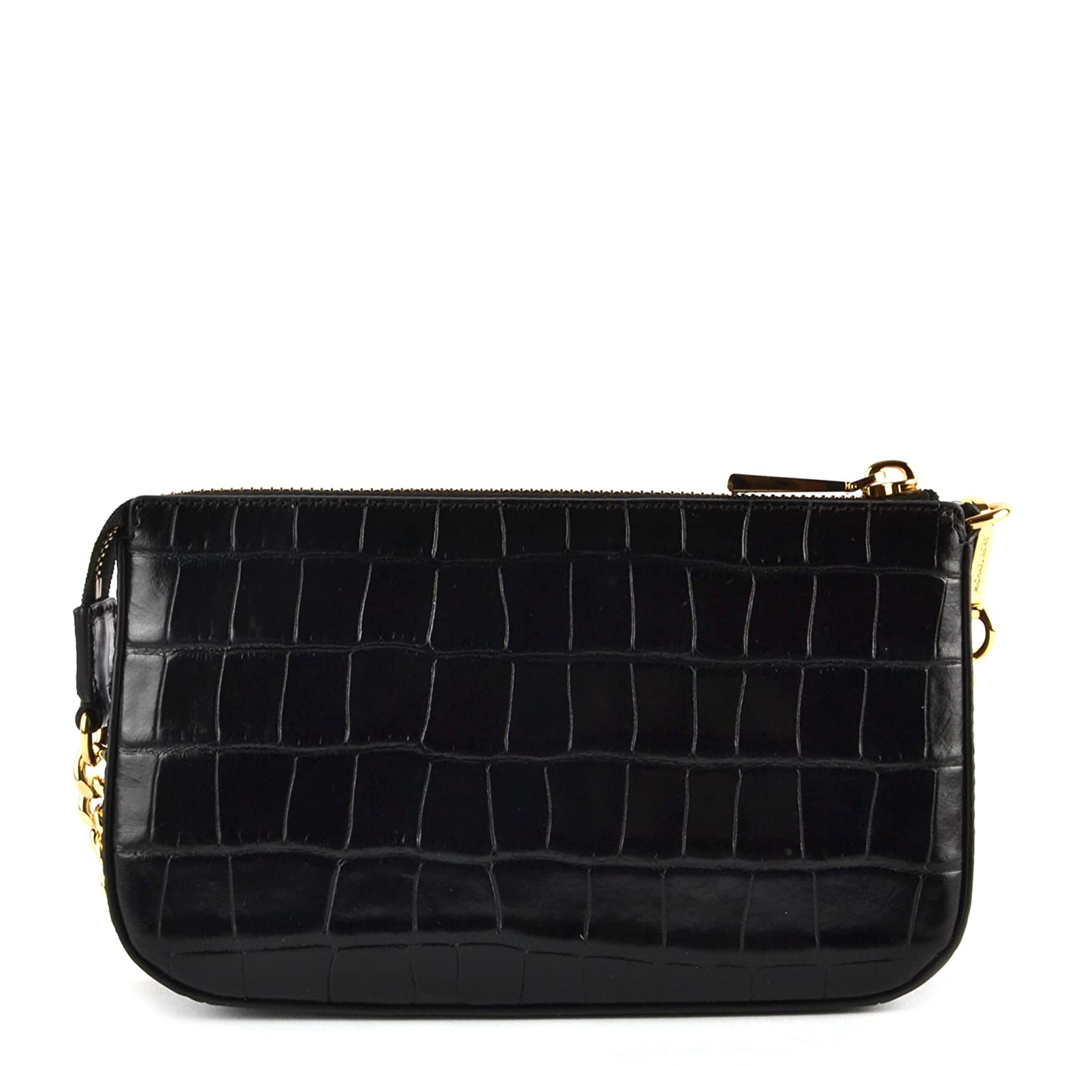 24ef9ad9820f2a MICHAEL by Michael Kors Jet Set Black Embossed Leather Chain Shoulder Wallet  Black one size: Amazon.co.uk: Clothing