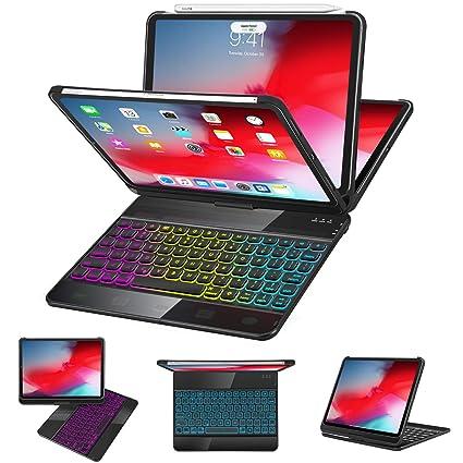 649b7f7db22 iPad Pro 11 Case with Keyboard 2018 - 360 Rotatable - Wireless/BT - Backlit  17 Color - Auto Sleep Wake - Thin & Light - iPad Case with Keyboard【Support  ...