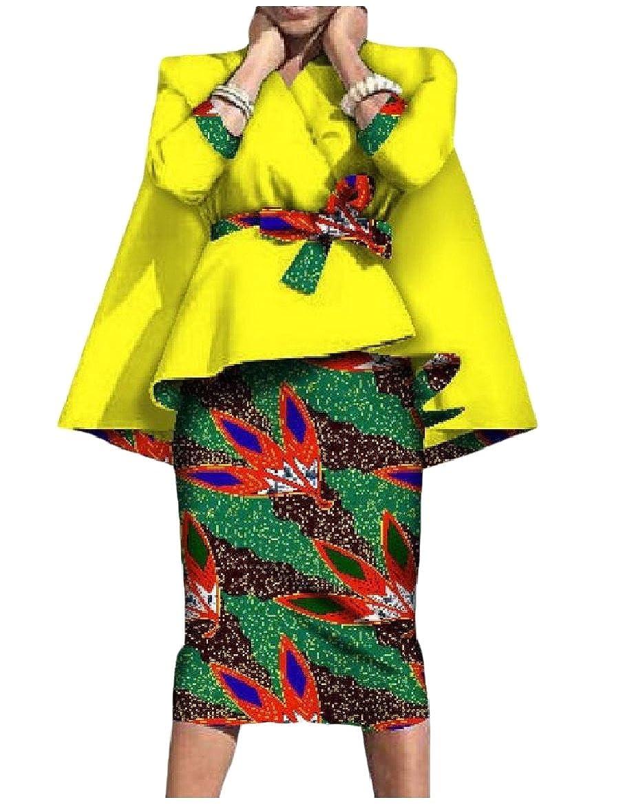 Vivi-Women Elegant African Dashiki Cotton Tunic Blazer and Bodycon Dress Suit Sets