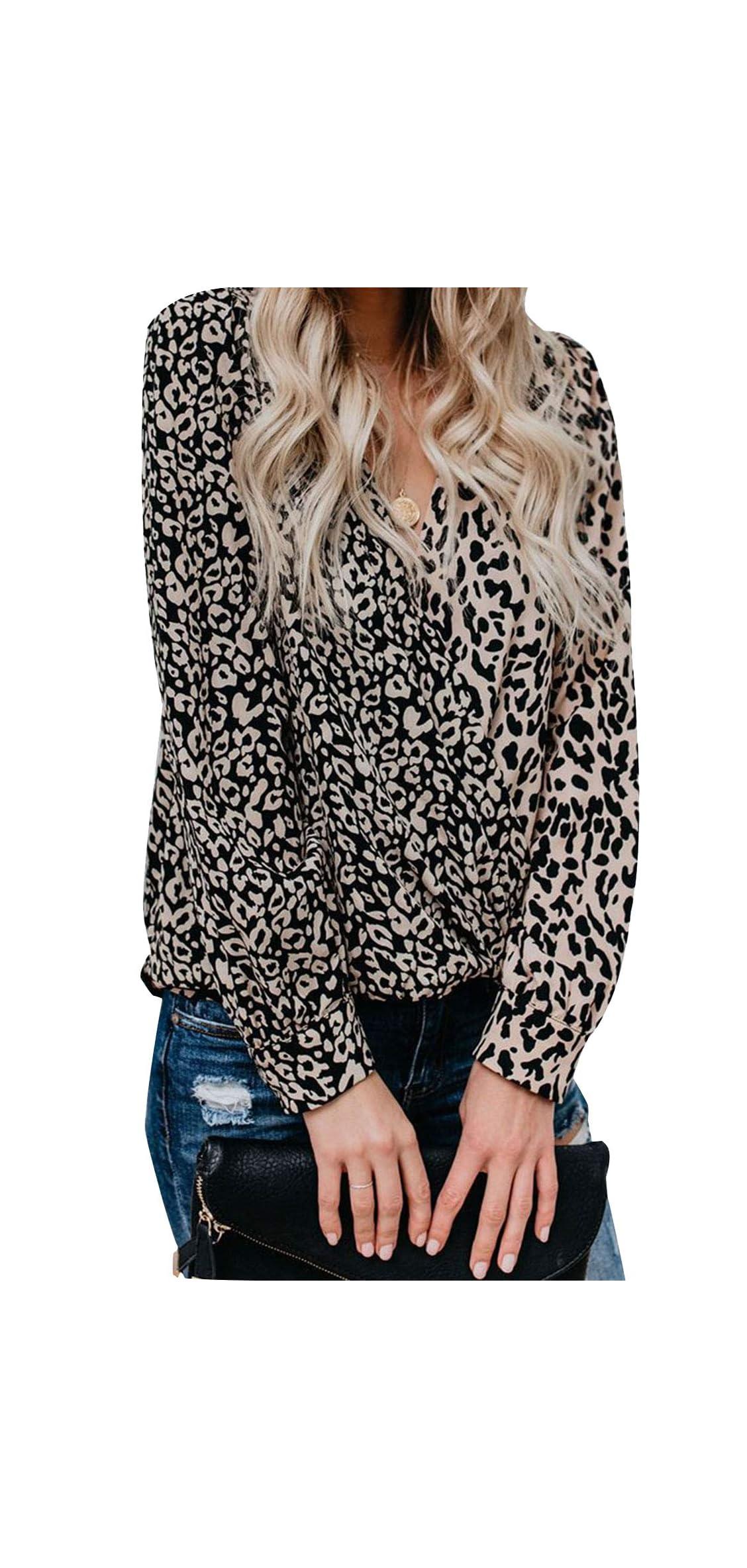 Women Casual Blouse Wrap V-neck Drape Twist Front Leopard