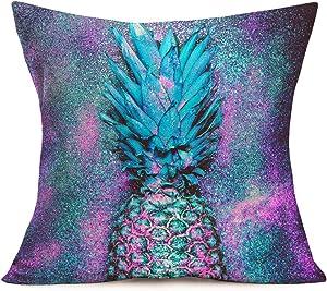 "ShareJ Purple Pineapple Decorative Pillow Covers Cotton Linen Square Sparkling Design Throw Waist Pillow Cases Decorative Cushion Cover for Home Sofa 18""x 18"" Pillowcase"