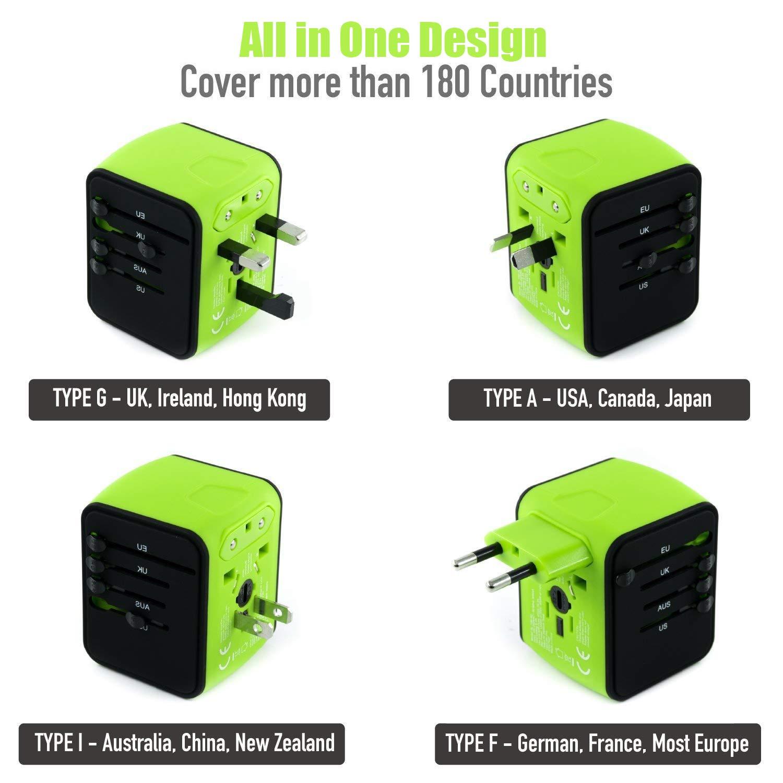 VGUARD Adaptateur de Voyage avec 4 USB Adaptateur Universel Pris de Courant pour UE//US//UK//AUS Utilis/é dans Plus de 150 Pays Adaptateur Chargeur Vert
