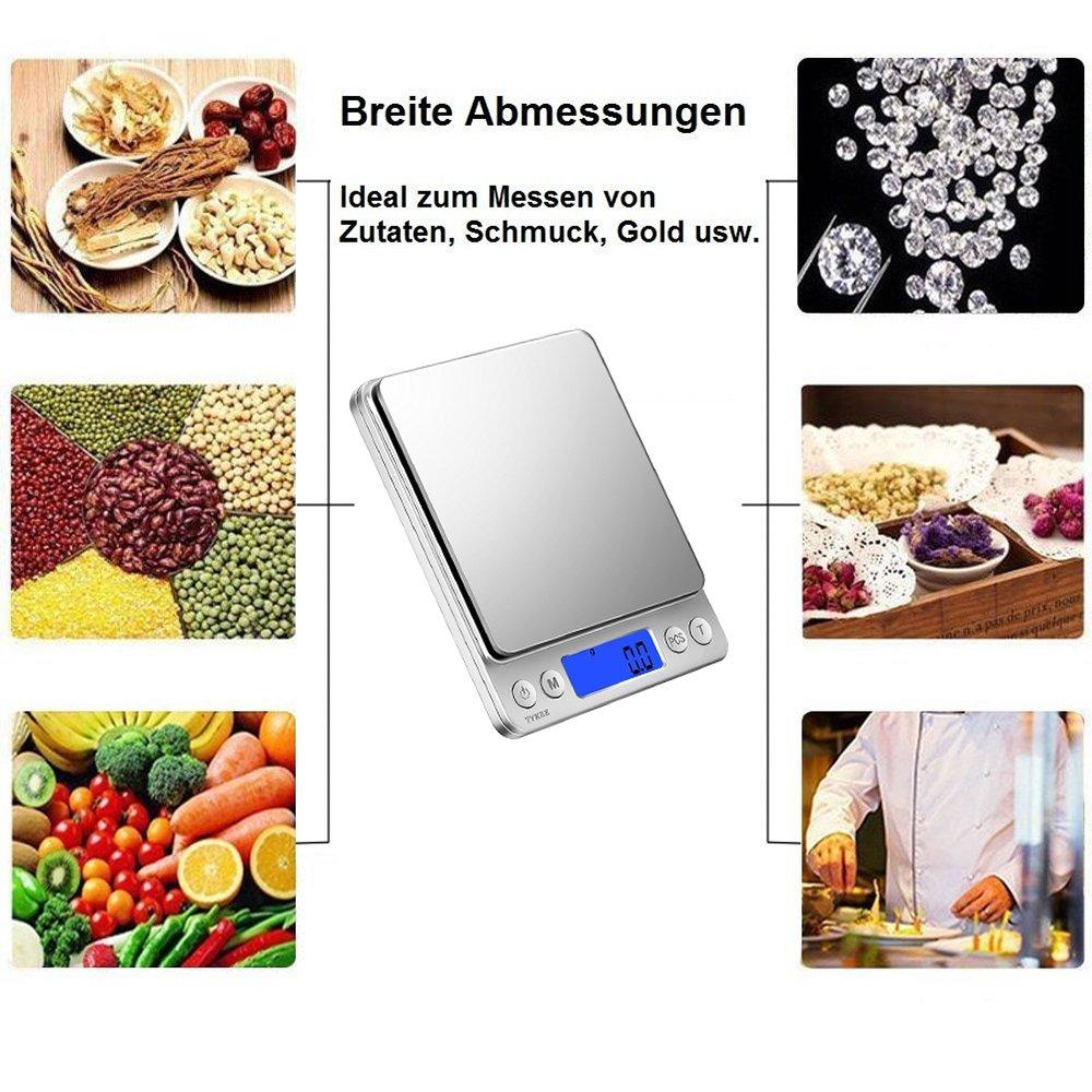 Balanza de precisión 300 g/0, 01 Digital Báscula Balanza Digital de Cocina Báscula portátil, Industrial, Digital, Con LCD, ordenadores Función Peso, ...