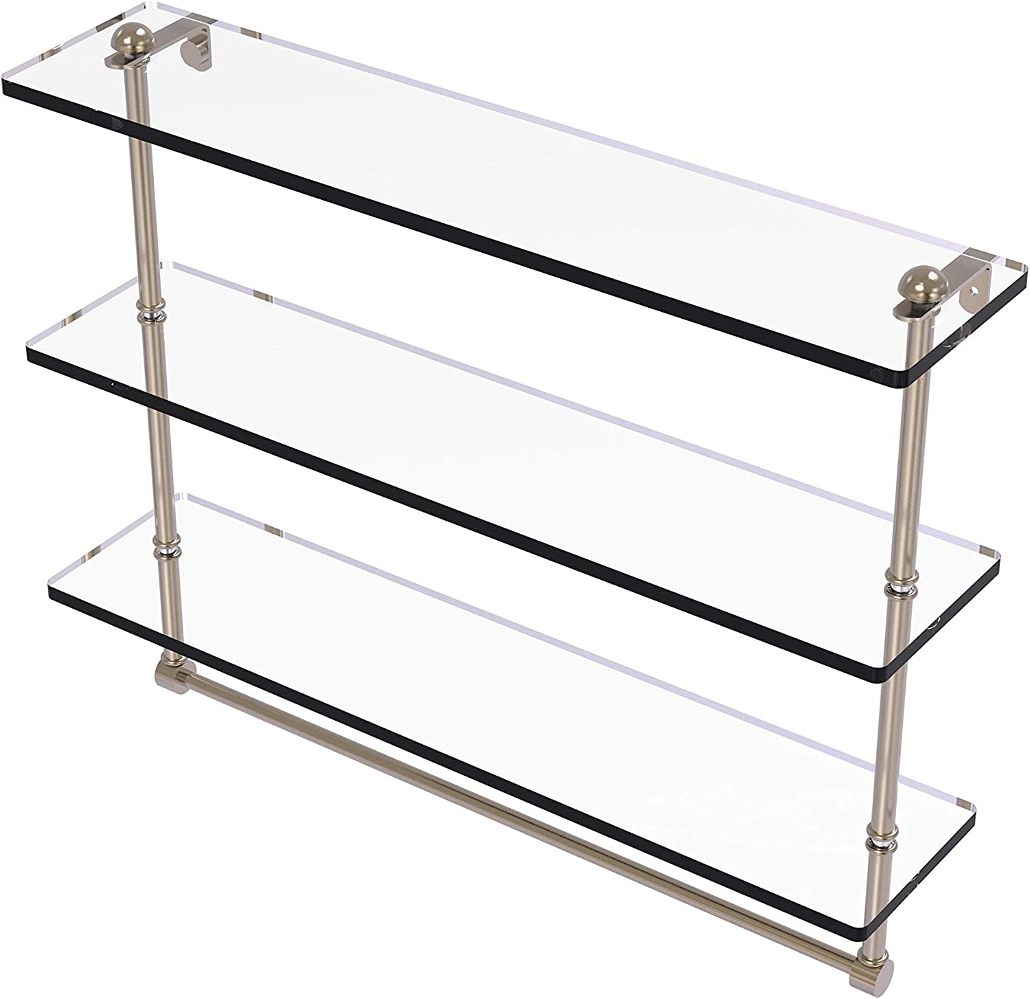 Allied Brass NS-2//16TB-PEW 16 Inch Two Tiered Glass Shelf with Integrated Towel Bar Antique Pewter