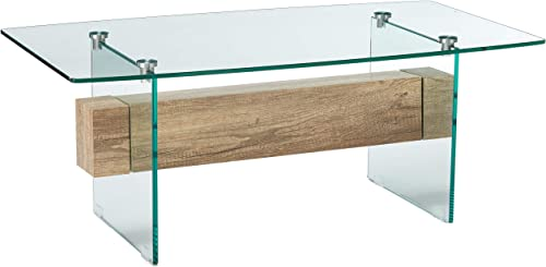 Christopher Knight Home Wilmington Tempered Glass and Wood Coffee Table, Color Clear