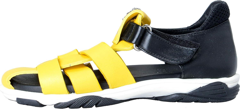 Versace Young Kids Leather Medusa Sandals Shoes Sz 30 Yellow//Black