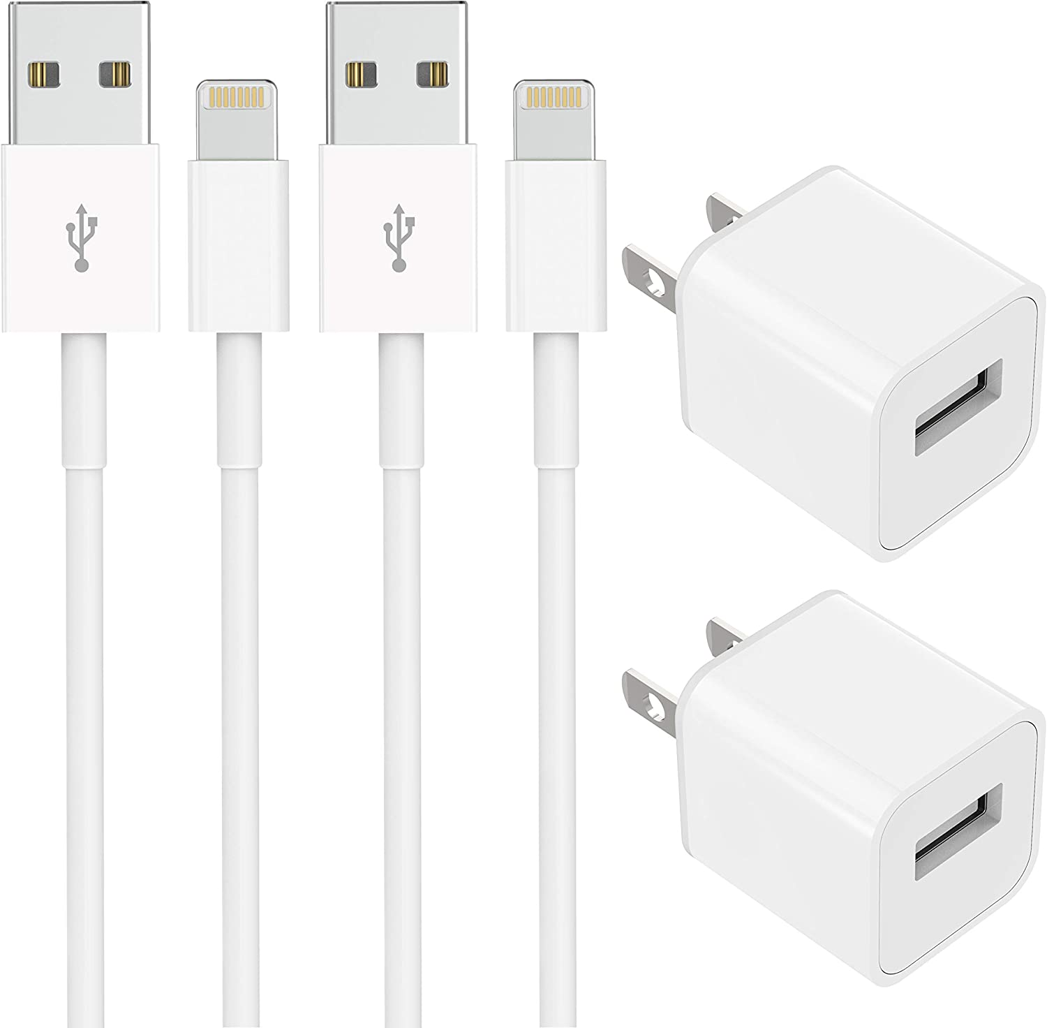 TT&C USB Wall Charger Adapter Block Fast Charging Certified Lightning Cable【5ft】Cord Data Sync Compatible with iPhone 11, Xs Max, XR, X, 8, 8Plus 7, 7Plus 6, 6S , 6S Plus, SE, 5S, 5C, iPad Mini, iPod