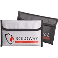 ROLOWAY Small Fireproof Bag (5 x 8 inches), Non-Itchy Fireproof Money Bag, Fireproof Wallet Bag, Cash Fireproof Bag Set…