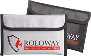 ROLOWAY Small Fireproof Bag (5 x 8 inches), Non-Itchy Fireproof Money Bag, Fireproof Wallet Bag, Cash Fireproof Bag Set for Valuables - Passport, Currency & Keys (2-Pack)