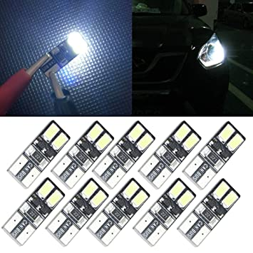 10x Auto Moto Canbus W5w T10 4 Led Erro Free License Plate Bulb Light Car 5w5 Cargo Door Dome Festoon C5w C10w Led Light Xenon Signal Lamp