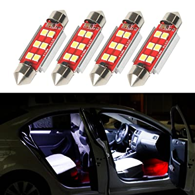 CHANONE 4pcs Extremely Bright 400 Lumens 6000K CANBUS Error Free 6-SMD 3030 Chipset 41mm 42mm 212-2 578 Festoon LED Bulbs Replacement for Interior Car Lights License Plate Dome Map Door Courtesy: Automotive