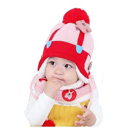 Leories Winter Hats Baby Kids Boys Girls Cute Warm Woolen Coif Hood Scarf  Hats Caps Red b928c65deea