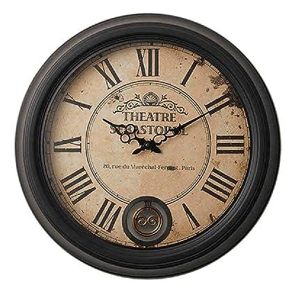 GuoEY Retro Europeo Romana de hierro Reloj de pared Digital Vintage estilo industrial Loft Bar Restaurante