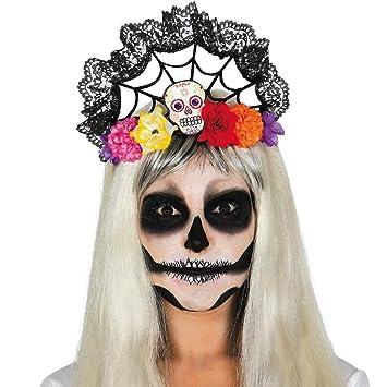 Dia de los Muertos Maske Venezianische Augenmaske /& Rosen schwarz-rot La Catrina