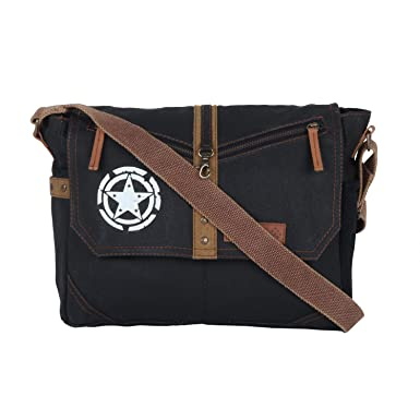 Almolfa Unisex Cotton Canvas Laptop Messenger Bag One Size Black a6155168ad5