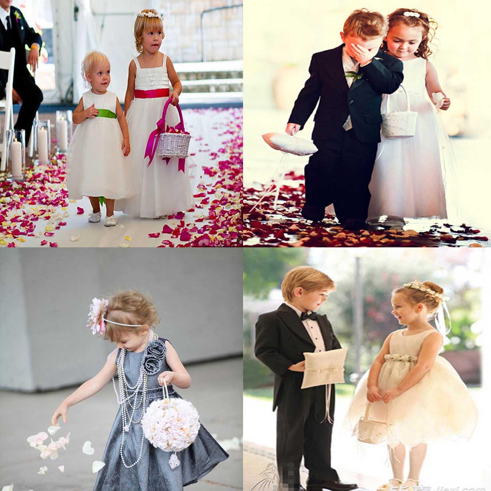 ARKSU 4pcs Wedding Sets Flower Girl Basket + Ring Bearer Pillow + Guest Book Pen + Pen Set Holder Rustic Bridal Wedding Shower Ceremony-Aqua Blue by ARKSU (Image #6)