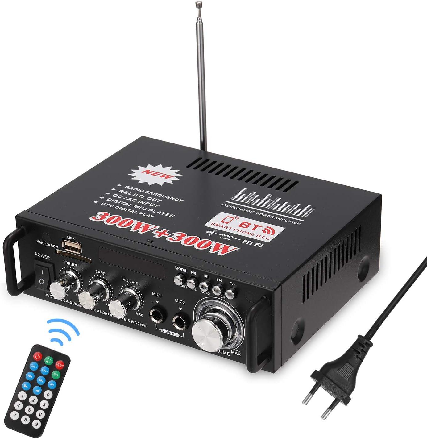 Docooler 12 V/220V Mini Amplificador BT,HiFi Audio Estéreo Amplificador 2CH Pantalla LCD de Alta fidelidad, BT FM Radio Portátil Auto Home 600 W, Mando a Distancia Audio Amplificador