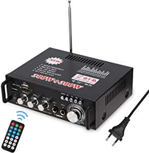 Docooler HiFi Audio Stereo Power Amplifier 12V/ 220V Mini 2CH LCD Display BT FM Radio Portable Car Home 600W Remote Control Audio Amplifier