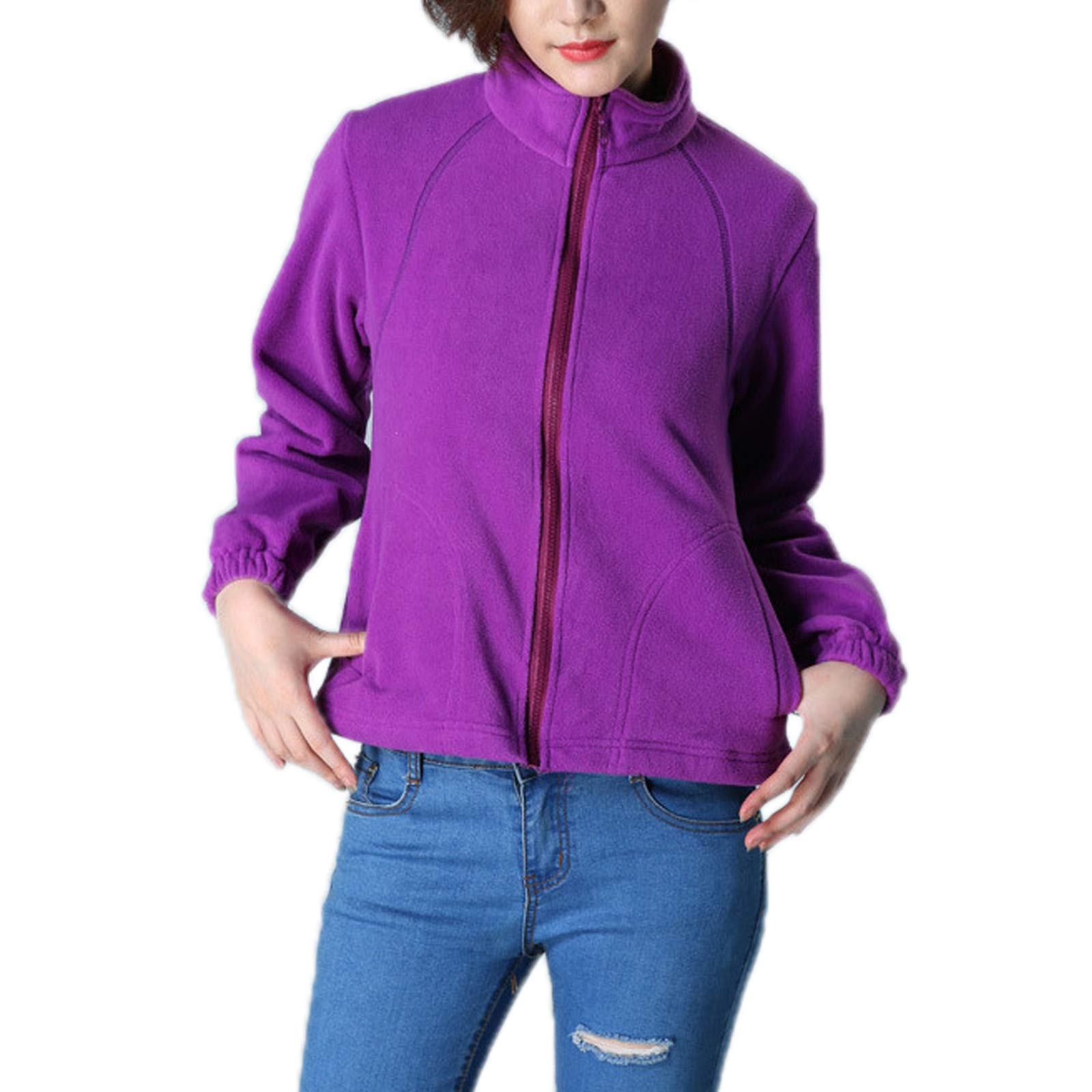 Elonglin Womens Fleece Jacket Full Zip Stand Collar Sportwear Top Outwear Purple Bust 40.9''(Asie XL) by Elonglin