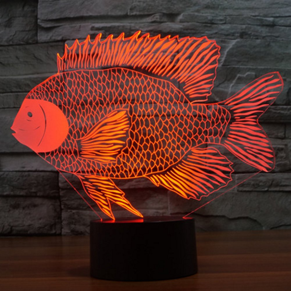 Fish 3D Illusion Lamp Night Light, Gawell 7 Color Changing Touch ...