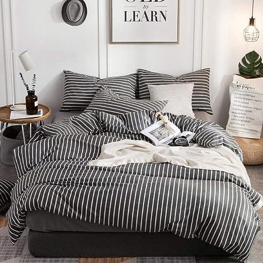 Amazon Com Clothknow Striped Duvet Cover Queen Cotton Grey Gray