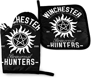 SDFDFGD Winchester Paranormal Hunters -Oven Mitts and Pot Holders Heat Resistant Kitchen Bake Gloves Cooking Gloves