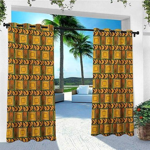 leinuoyi - Cortina de Zambia, diseño étnico Africano con Estampado de Elefantes, Jirafa, león, pérgola, Jengibre, Canela, Negro: Amazon.es: Jardín